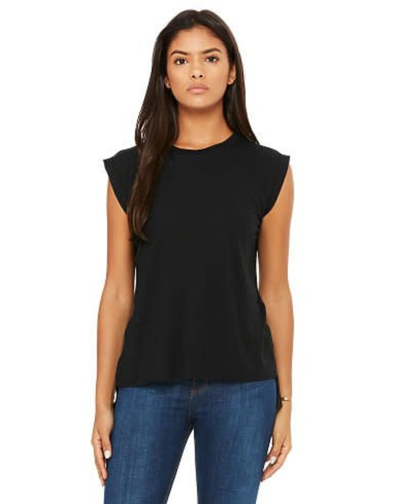 Women's Flowy Muscle Tee with Rolled Cuff