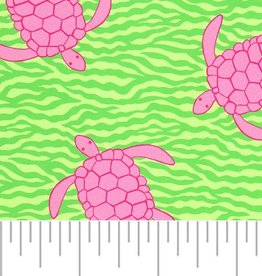 Fabric Finders FF 2102 PINK TURTLES ON GREEN