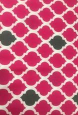 Fabric Finders HOT PINK/ GREY QUATREFOIL - small
