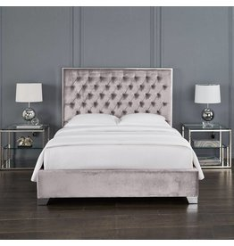 Xcella Kroma Velvet Grey Queen Bed