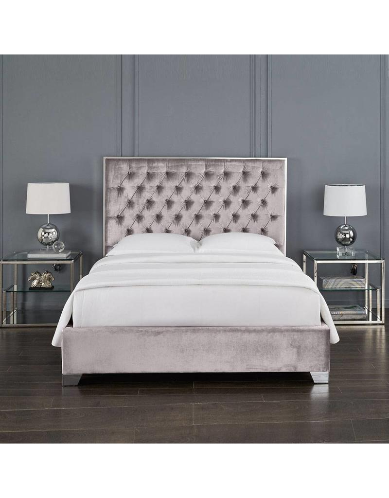 Xcella Kroma Velvet Grey Queen Bed
