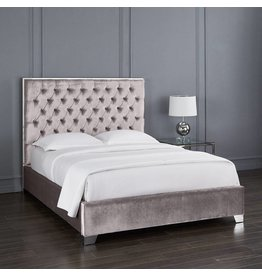 Xcella Kroma Velvet Grey King Bed