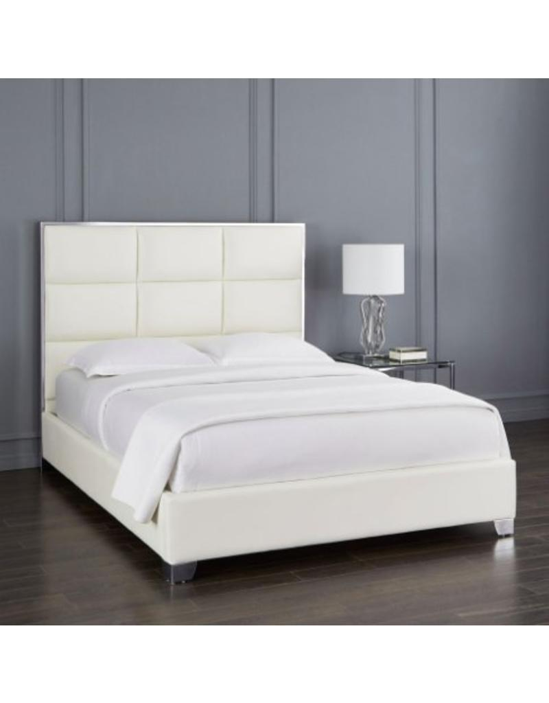 Xcella Blair White Leatherette Queen Bed