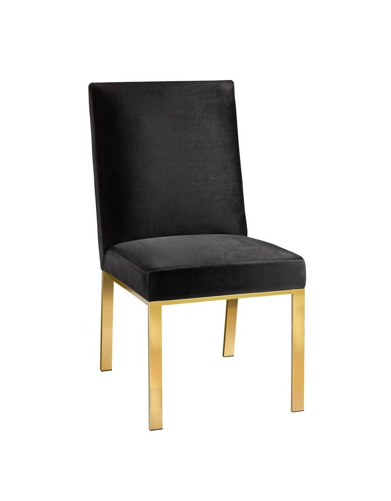 Wellington Dining Chair Black Velvet Livin Style Furniture