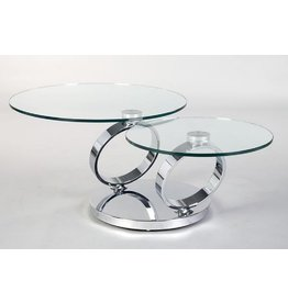 Creative Home Decor Rings Swivel Coffee Table Silver