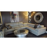 Victoria 3pc Leather Sectional Grey