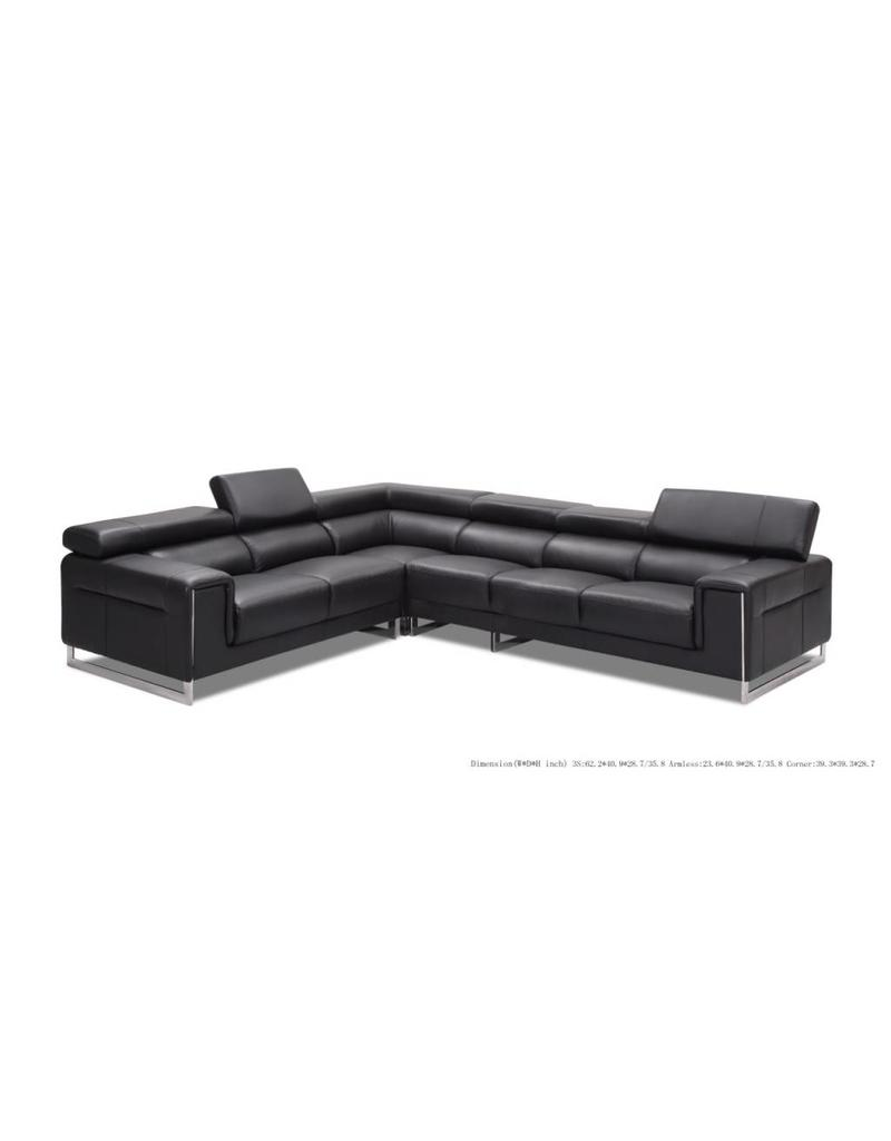 Venice 3 Piece Leather Sectional Black
