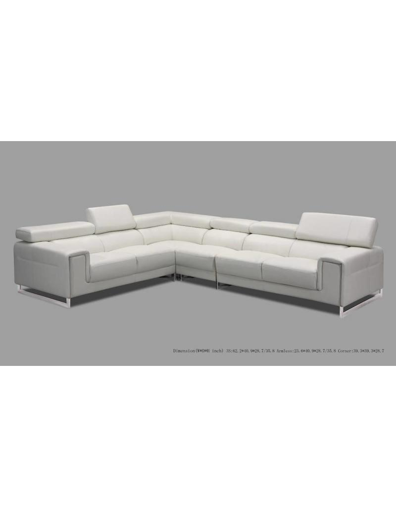 Venice 3 Piece Leather Sectional White