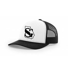 free shipping 1f892 78fa0 Southern Grain Collection GEORGIA MESHBACK TRUCKER HAT White Black