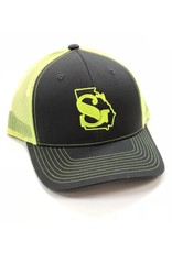 hot sales 513a3 93372 Southern Grain Collection GEORGIA MESHBACK TRUCKER HAT Charcoal Neon Yellow