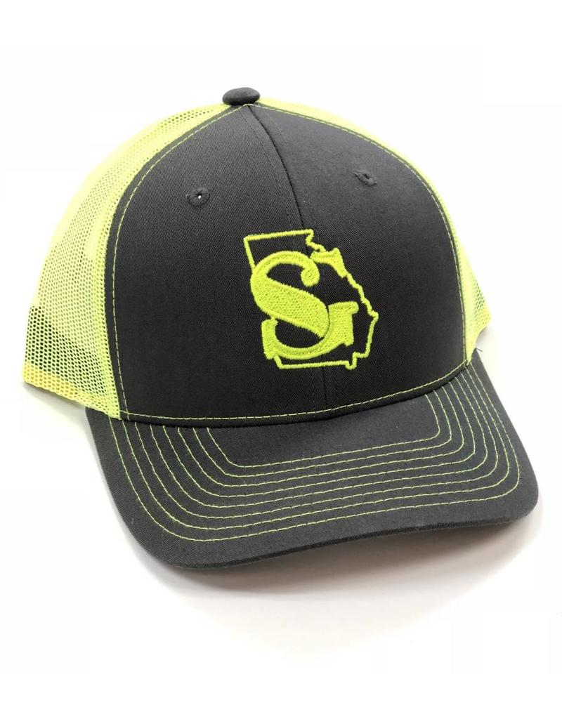 499f4febc0a23 Southern Grain Collection GEORGIA MESHBACK TRUCKER HAT Charcoal Neon Yellow