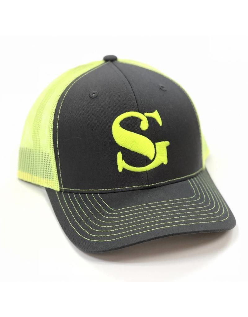 1b8ba0fd43c Southern Grain Collection ORIGINAL MESHBACK TRUCKER HAT Charcoal Neon Yellow