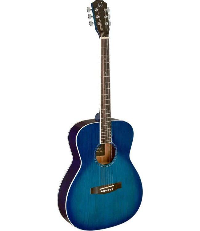 J.N. Guitars Transparent blueburst acoustic auditorium guitar