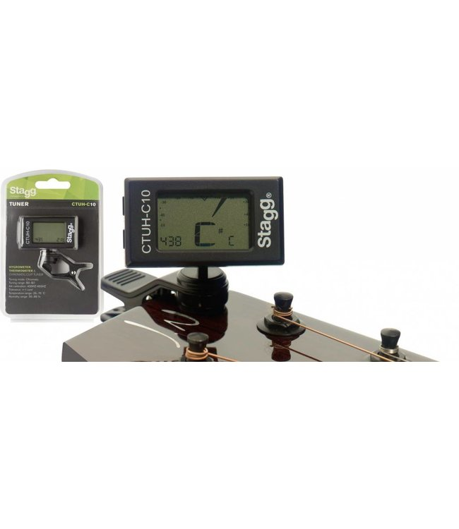 STAGG Auto-Chromatic clip-on Tuner w/ built-in Thermo & Hygrometer