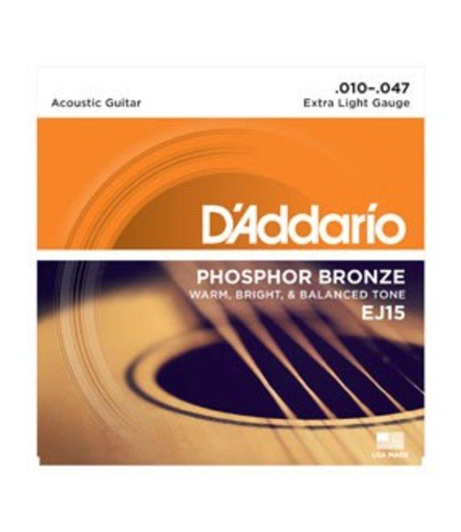 D'ADDARIO EJ15 Phosphor Bronze, Extra Light, 10-47