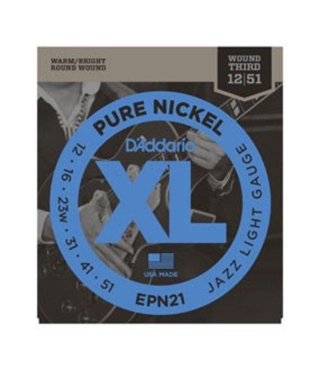 D'ADDARIO D'Addario EPN21 Pure Nickel, Jazz Light, 12-51