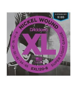 D'ADDARIO EXL120-8 Nickel Wound, 8-String, Super Light, 09-65