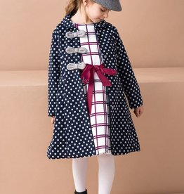 Joe-Ella Formal Coat Navy Polka
