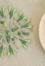 Grapat Mandala Cones 36 pc, Loose Parts - Greens