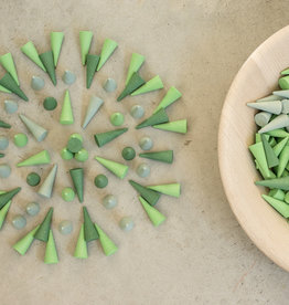 Grapat Mandala Cones 36 pc, Loose Parts - Greens