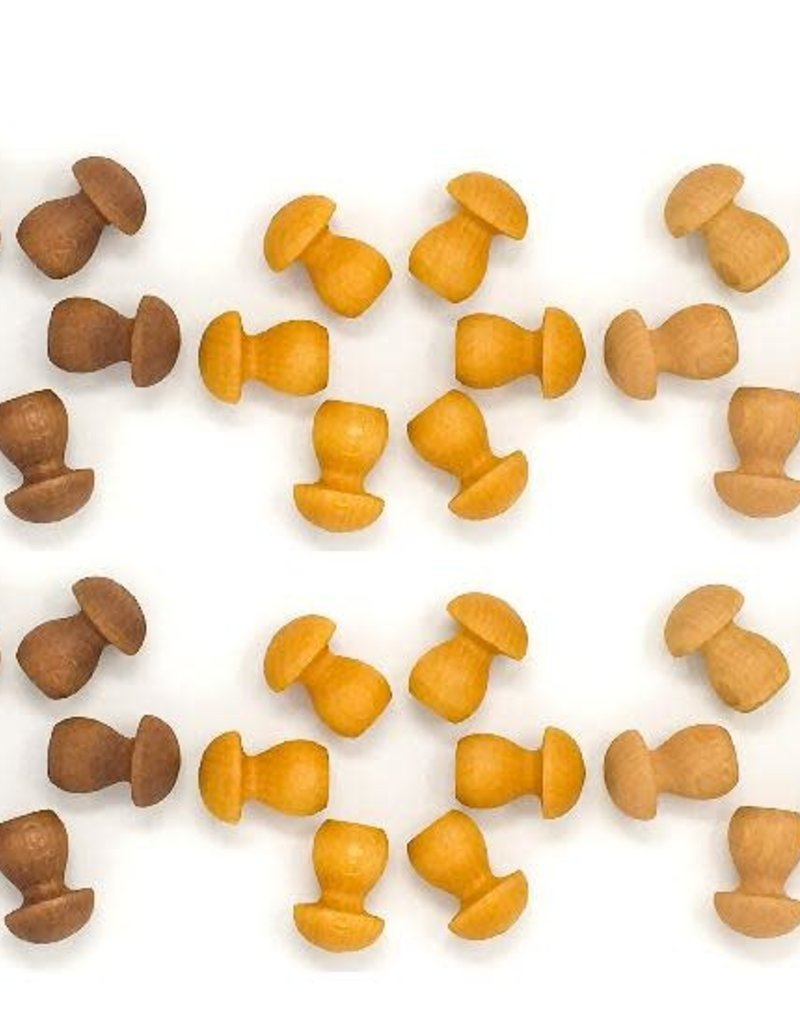 Grapat Mandala Mushrooms 36 pc, Loose Parts - Browns