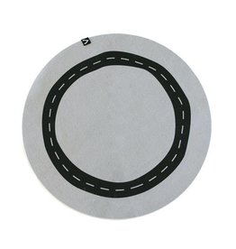Gautier Studio Round Felt Rug with Car Track