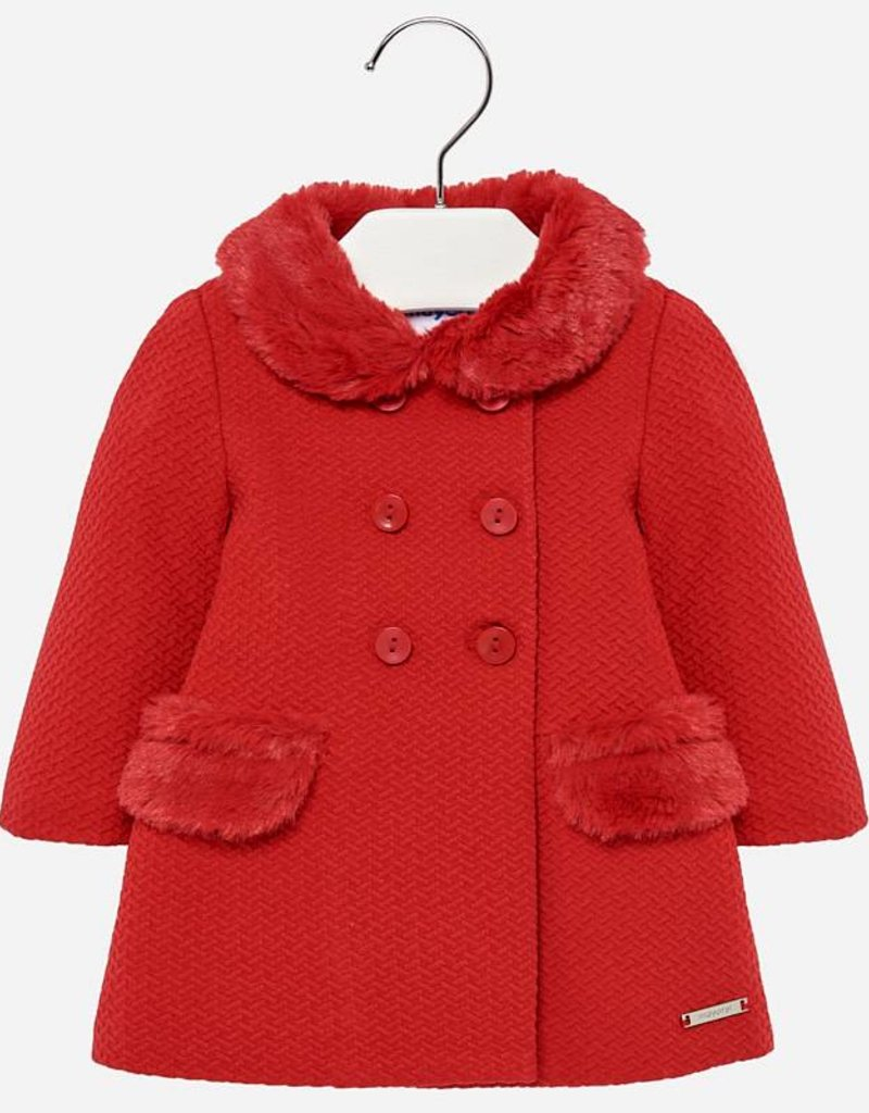 Mayoral Knit Dress Coat Red