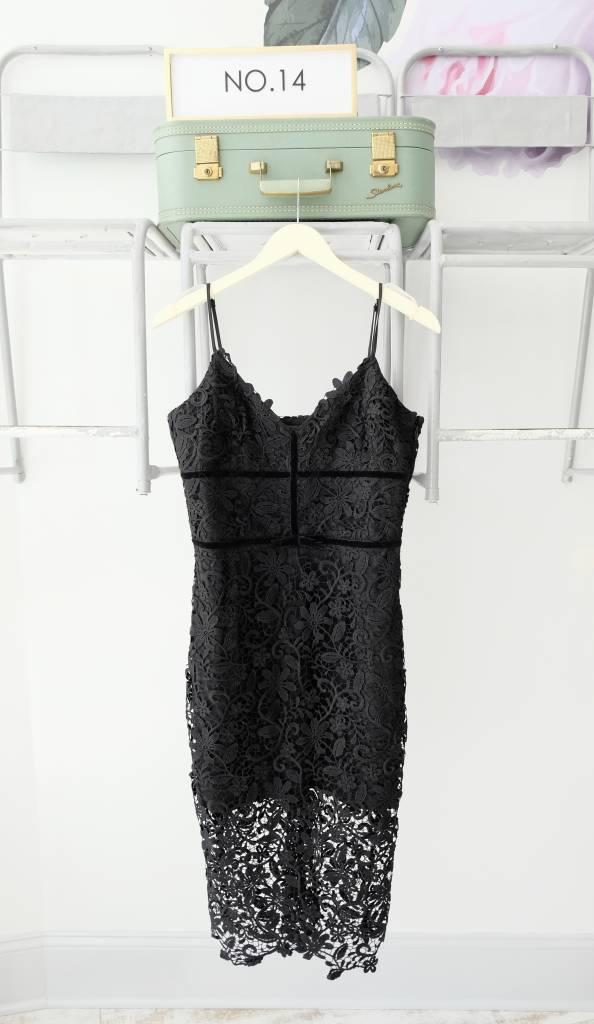 Lace Black Midi Dress