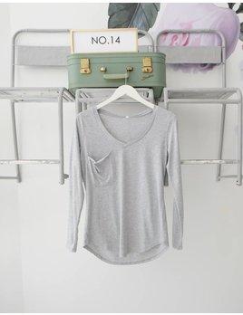 Long Sleeve Pocket V Neck