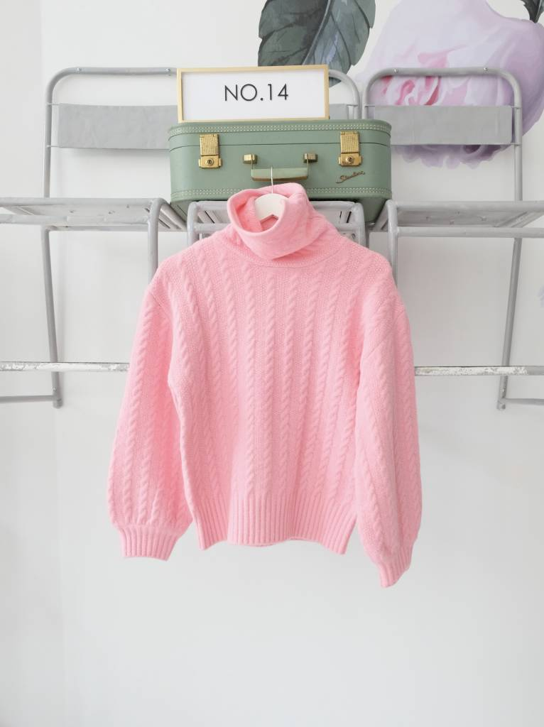 Cable Knit Sweater Hot Pink