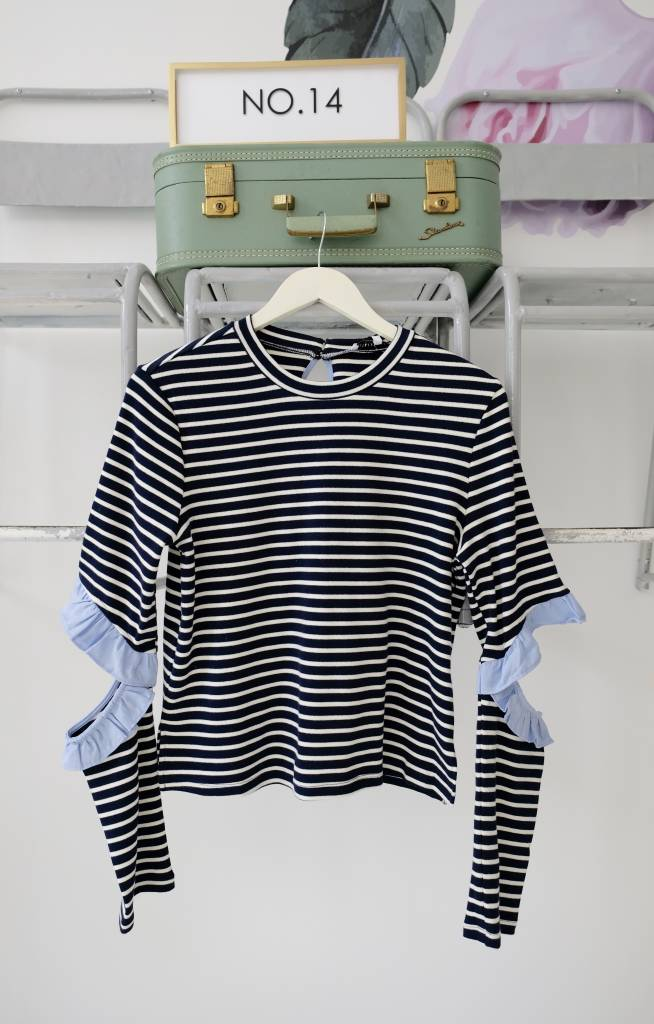 Striped Ruffled Elbow Top