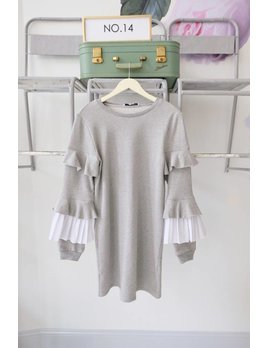 Ruffe Sleeve Sweatshirt Dress