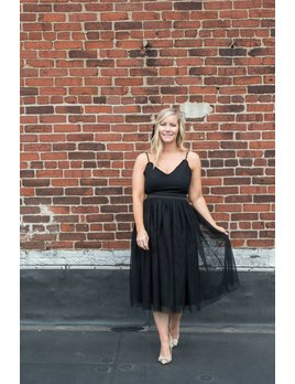 Black Tulle Midi Dress