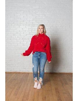 Red Mockneck Sweater