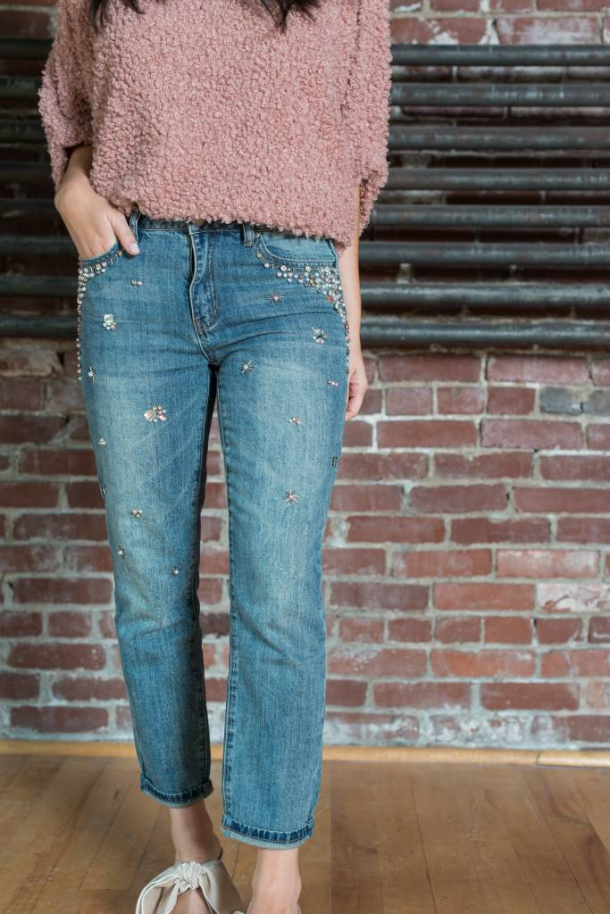 Embellished Crop Jeans