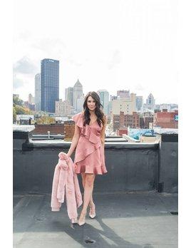 Satin Pink Wrap Dress