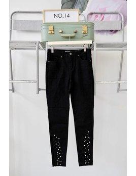 Pearl Embellished Black Skinny Jeans