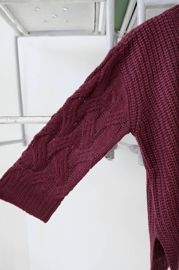 Cableknit Sleeve Crewneck