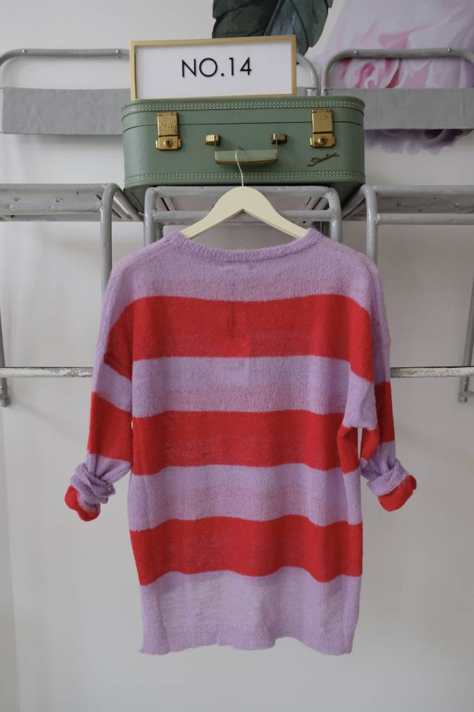 Red & Pink Striped Sweater