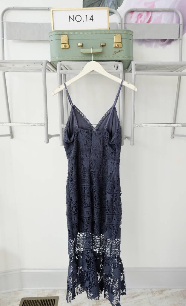 Slate Lace Midi Dress
