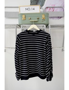 Striped Ruched Sleeve Knit