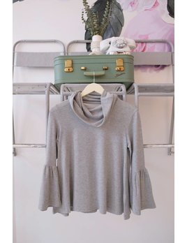 Open Back Cowl Neck Sweatshirt