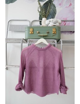 Lilac Frayed Edge Sweater