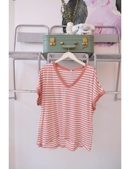 The Stripe V Neck Tee