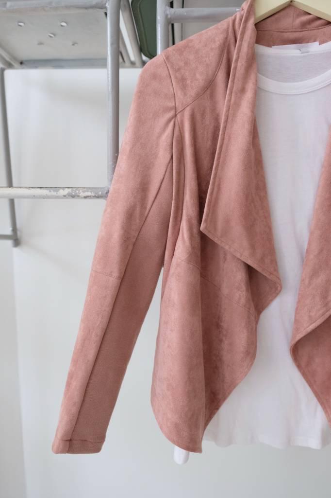 Rose Drape Front Faux Suede Jacket