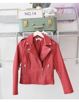 Red Faux Leather Moto