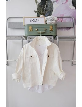 Distressed White Denim Jacket