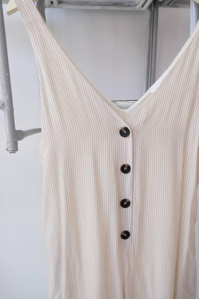 Striped Button Jumpsuit