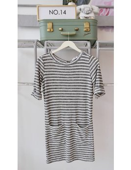 Pocket Front Striped Dress