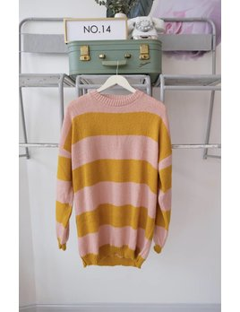 Pink & Yellow Striped Sweater